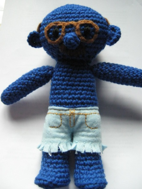 Tobias Fünke, Analrapist, never-nude, and Blue Man Group understudy. Sort of. Lovingly rendered in wool and felt.