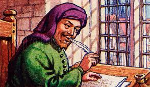 That's him. Chaucer. Sitting there with his quill just making shit up as he goes along. *snorts* Writers...