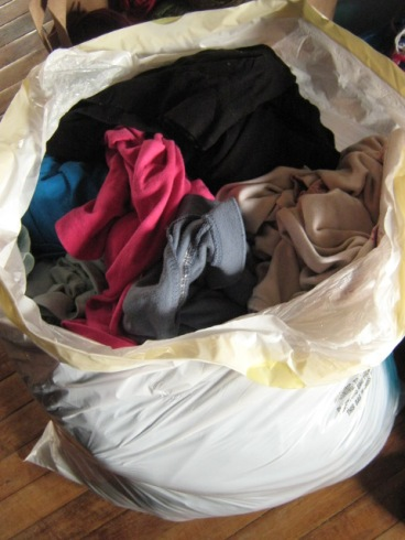 """I can't bring myself to call them """"fat clothes"""". These are my """"fattest"""" clothes, and they don't fit me anymore. Buh-bye!"""